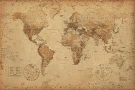 Weltkarte Poster Retro-Look