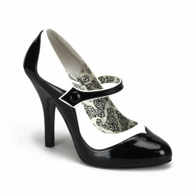TEMPT-07 - Black and White Two-Tone Mary Jane Pump