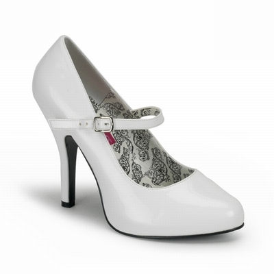 TEMPT-35 - White Patent Mary Jane Pump