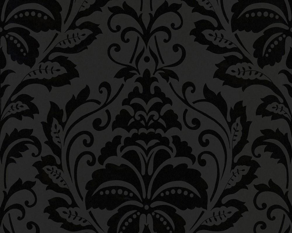 Orientalische Tapeten Muster : Purple and Black Damask Wallpaper