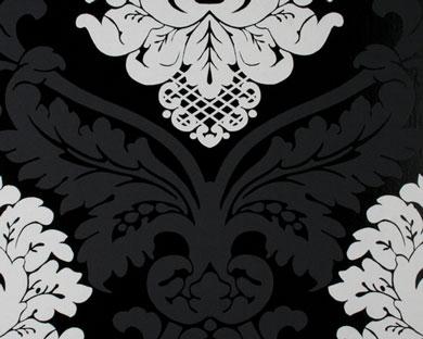 tapete flock schwarz weiss flock retro tapeten pr sentiert von klang und kleid tapeten. Black Bedroom Furniture Sets. Home Design Ideas