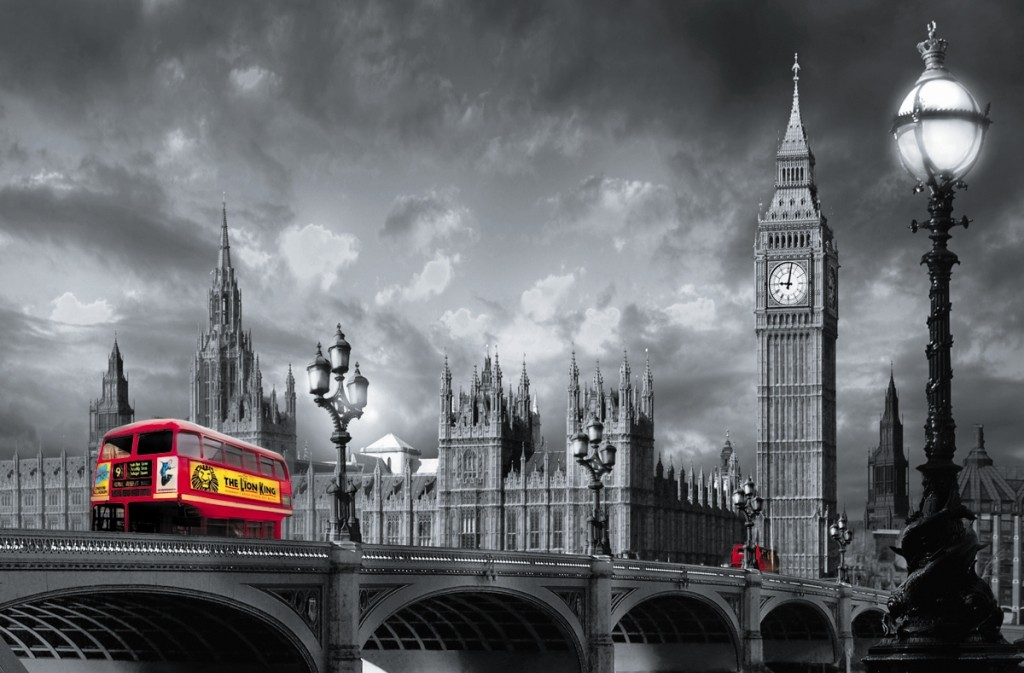 fototapete riesenposter london bus on westminster. Black Bedroom Furniture Sets. Home Design Ideas