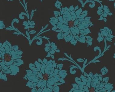 tapete flock iii floral t rkis flock iii retro. Black Bedroom Furniture Sets. Home Design Ideas