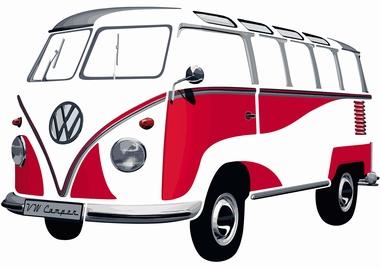 VW Bulli Wandtattoo Rot