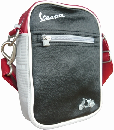 Vespa Schultertasche klein - schwarz-rot