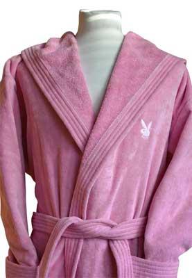 Playboy Bademantel - pink/weiss und weiss/pink