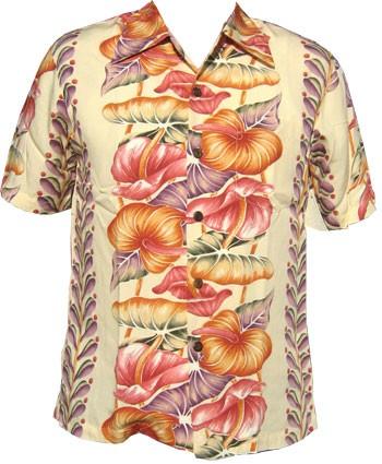 Kalakaua - original Hawaiihemd - Anthurium - Beige