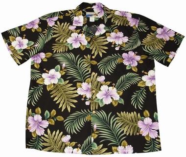 Original Hawaiihemd - Hibiscus Fern - Schwarz - Waimea Casual