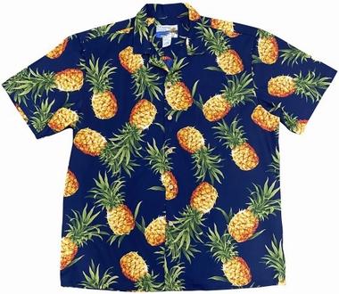 Original Hawaiihemd - Tropical Gold Navy - Waimea Casual