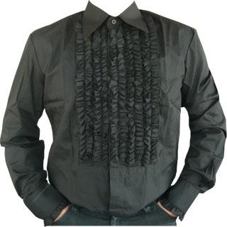 Rüschenhemd - schwarz schwarz