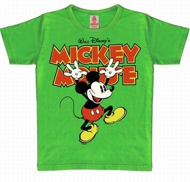 Kids Shirt - Mickey Hands Up - Vintage Grün