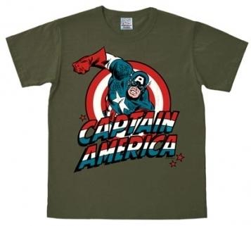 Logoshirt - Captain America Shirt - Marvel - Olivgrün