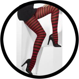 Rot/Schwarz gestreifte Strumpfhose - Klicken für grössere Ansicht