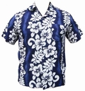 4 x HAWAII HEMD CLASSIC FLOWER - DUNKELBLAU