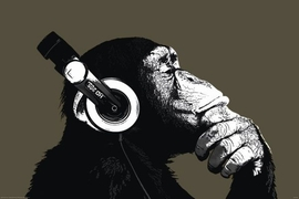 Monkey Poster Thinker with Headphones - Poster