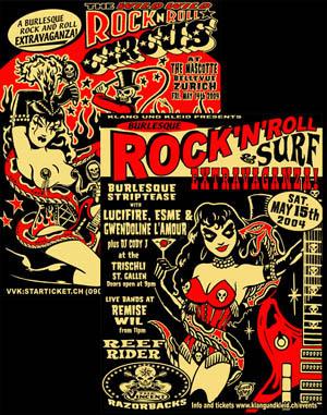 2 Plakate: RocknRoll Circus + Burlesque Extravaganza