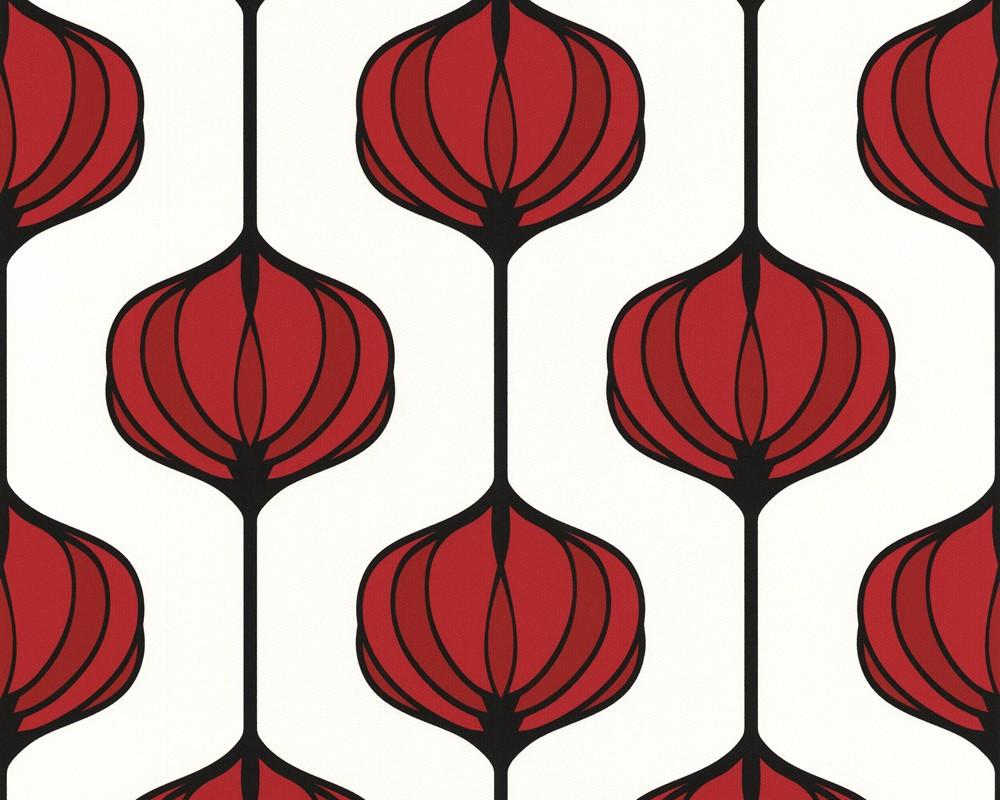 tapete smile retro flower rot young smile retro tapeten pr sentiert von klang und kleid. Black Bedroom Furniture Sets. Home Design Ideas
