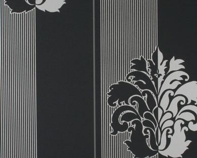 Tapete - Flock - schwarz weiss