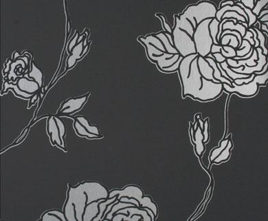 Tapete - Flock - schwarz silber