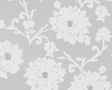 Tapete - Flock III - Floral - Grau