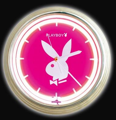 Playboy neon Wanduhr Classic pink